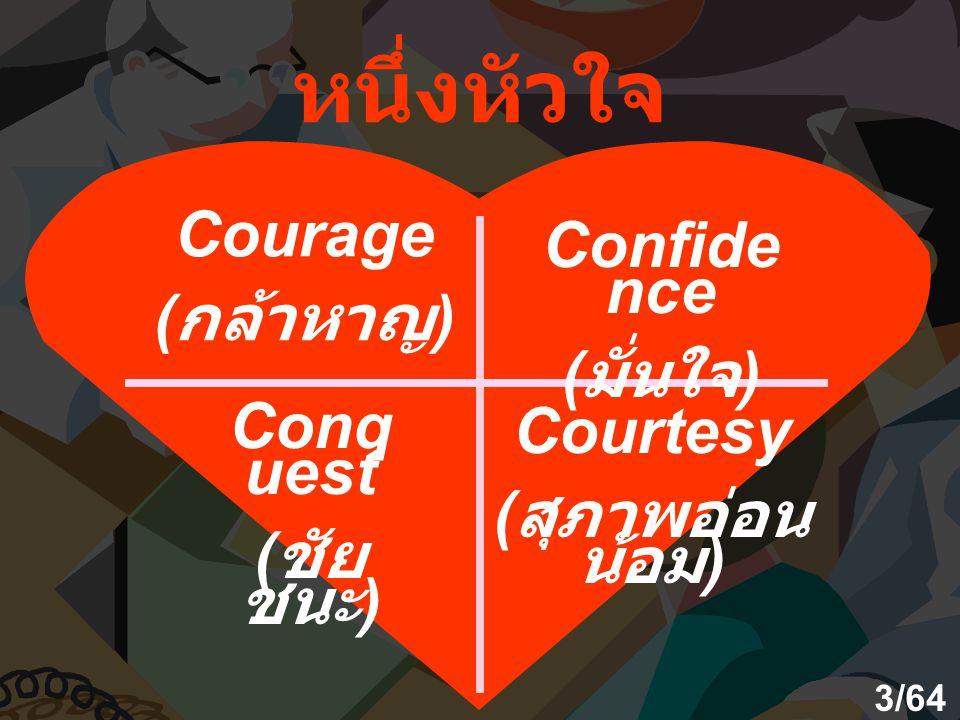 หนึ่งหัวใจ Courage Confidence (กล้าหาญ) (มั่นใจ) Conquest Courtesy