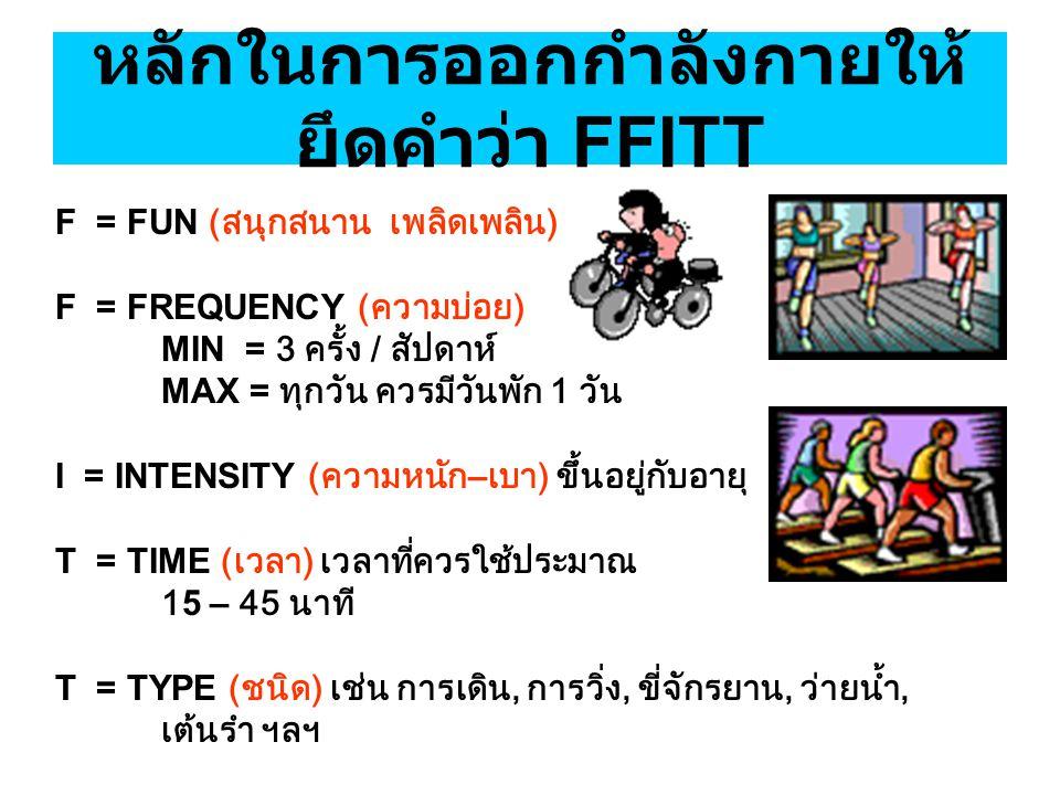 หลักในการออกกำลังกายให้ยึดคำว่า FFITT