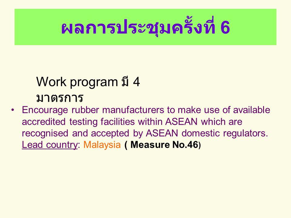 ผลการประชุมครั้งที่ 6 Work program มี 4 มาตรการ