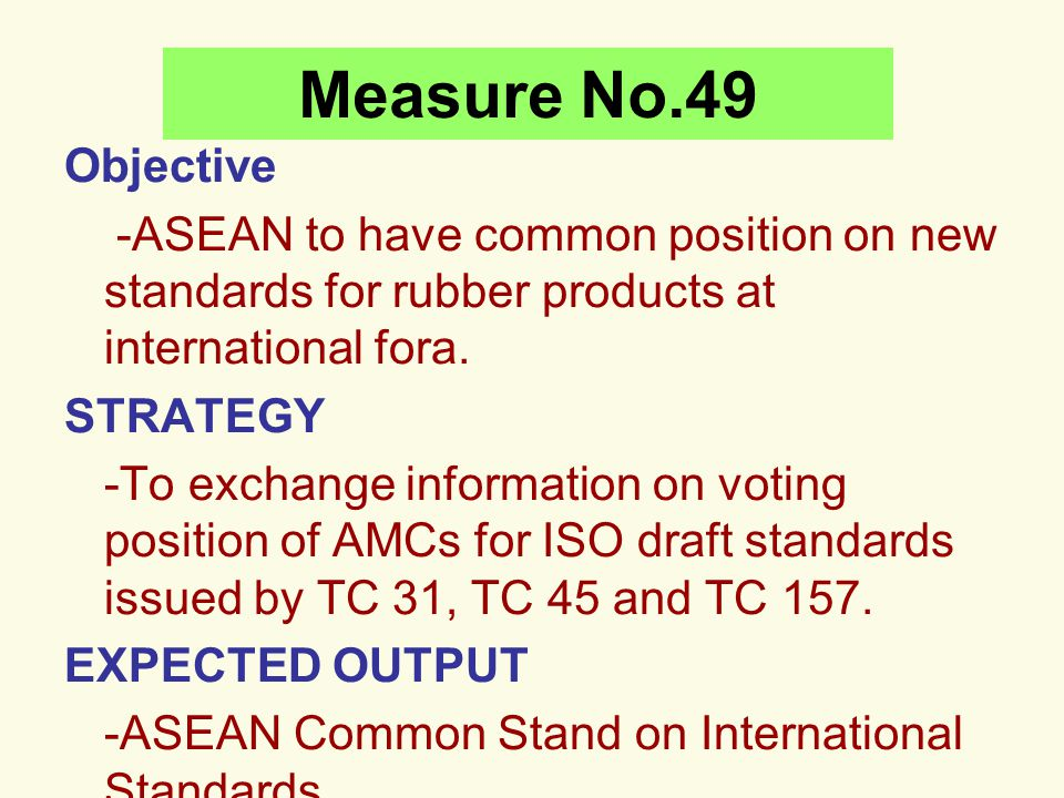 Measure No.49 Objective. -ASEAN to have common position on new standards for rubber products at international fora.