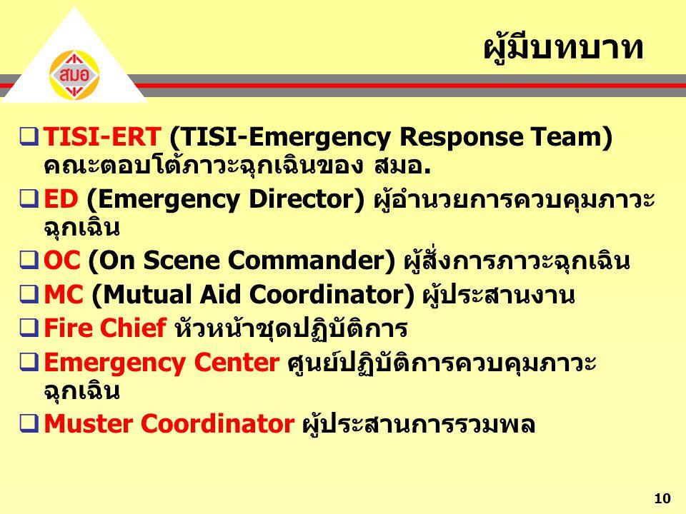 ผู้มีบทบาท TISI-ERT (TISI-Emergency Response Team) คณะตอบโต้ภาวะฉุกเฉินของ สมอ. ED (Emergency Director) ผู้อำนวยการควบคุมภาวะฉุกเฉิน.