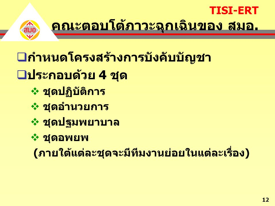 TISI-ERT คณะตอบโต้ภาวะฉุกเฉินของ สมอ.