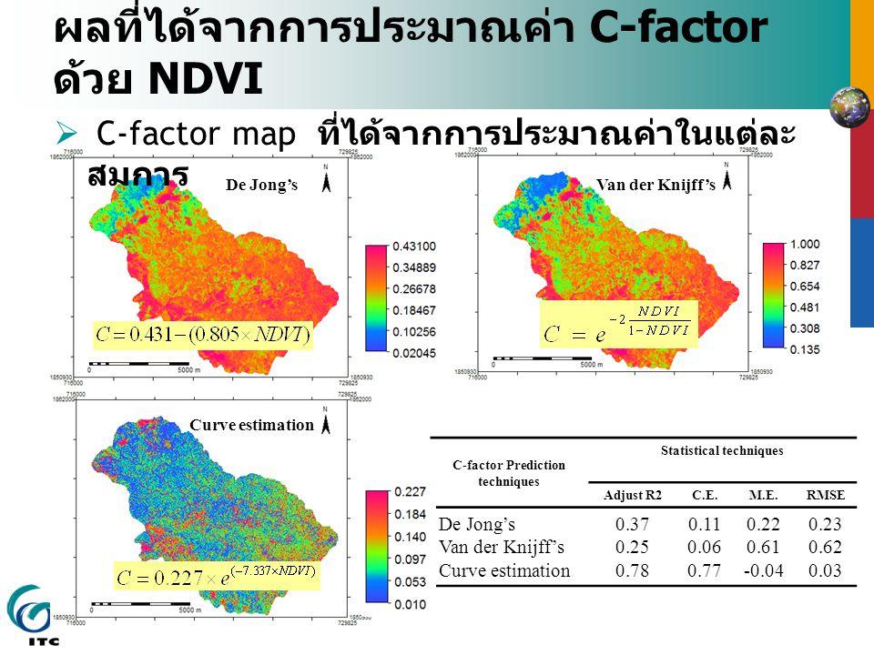 ผลที่ได้จากการประมาณค่า C-factor ด้วย NDVI