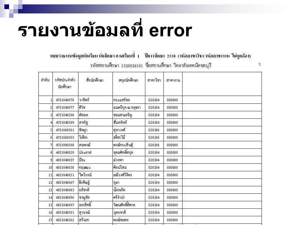 รายงานข้อมูลที่ error