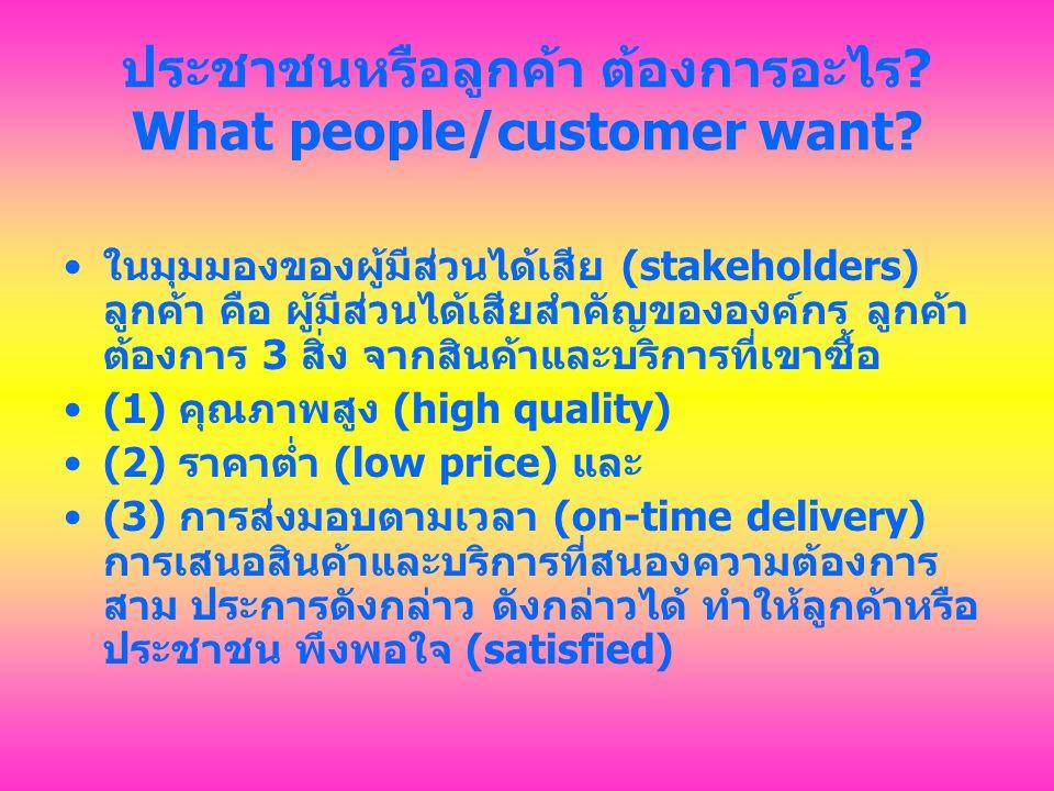 ประชาชนหรือลูกค้า ต้องการอะไร What people/customer want