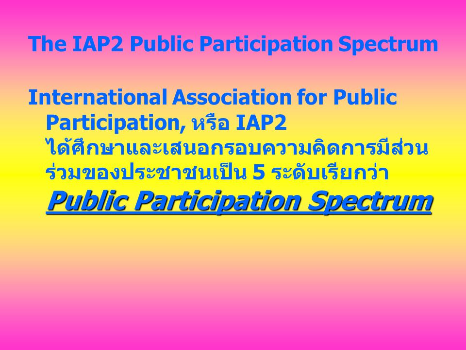 The IAP2 Public Participation Spectrum