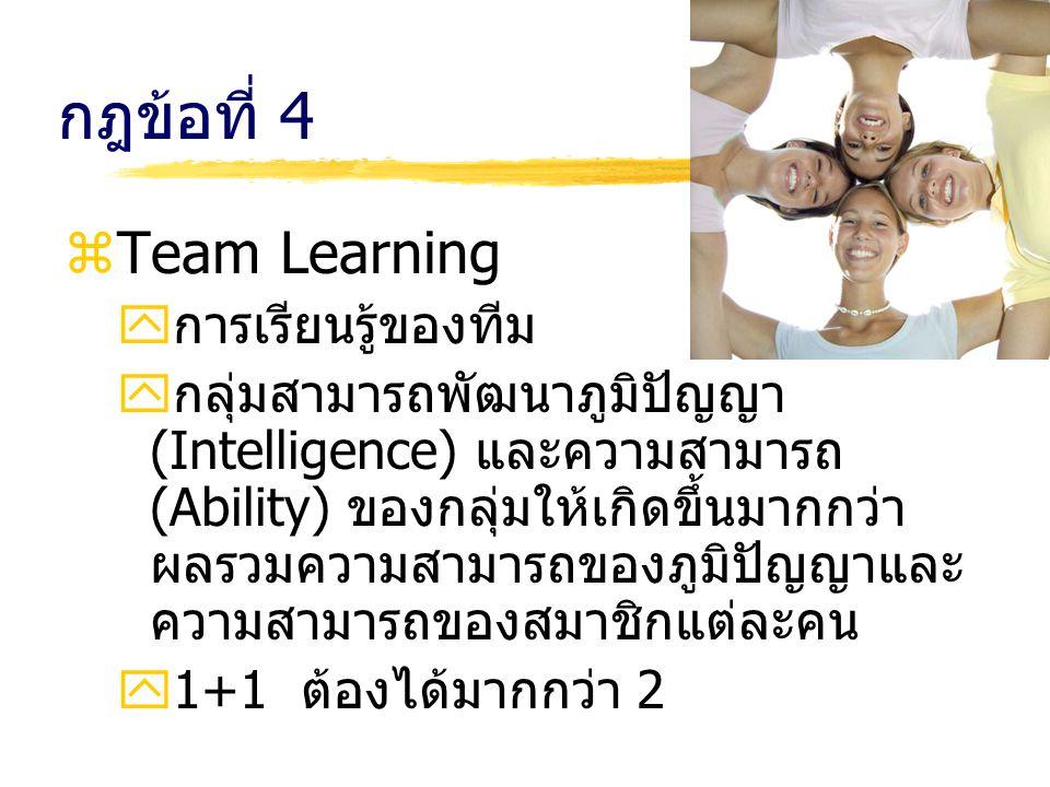 กฎข้อที่ 4 Team Learning การเรียนรู้ของทีม