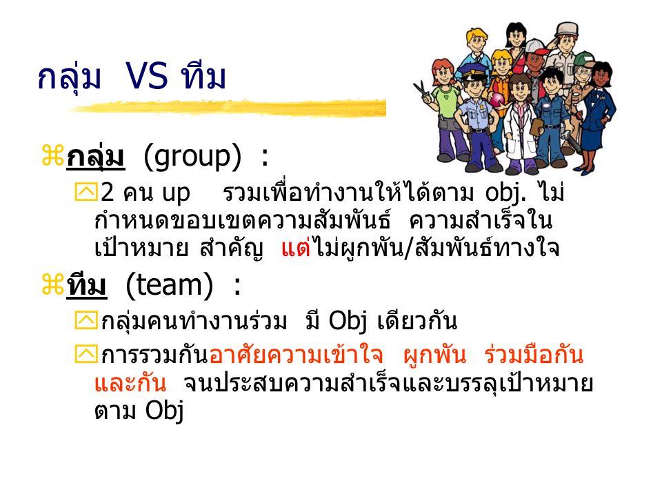 กลุ่ม VS ทีม กลุ่ม (group) : ทีม (team) :