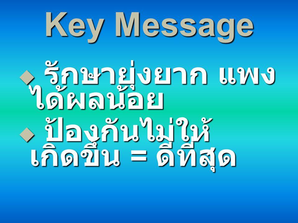 Key Message รักษายุ่งยาก แพง ได้ผลน้อย