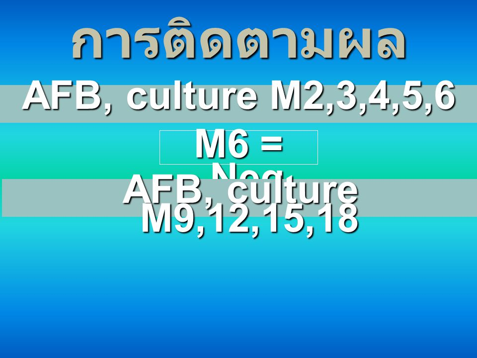 การติดตามผล AFB, culture M2,3,4,5,6 M6 = Neg AFB, culture M9,12,15,18
