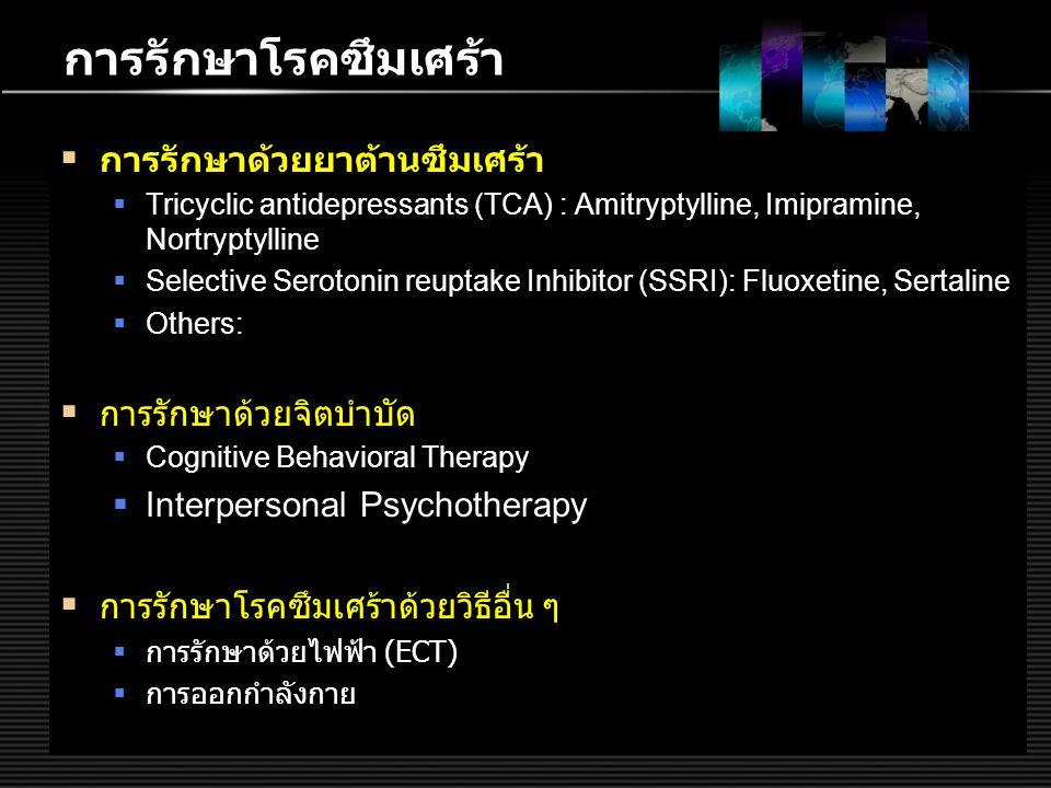 การรักษาโรคซึมเศร้า การรักษาด้วยยาต้านซึมเศร้า การรักษาด้วยจิตบำบัด
