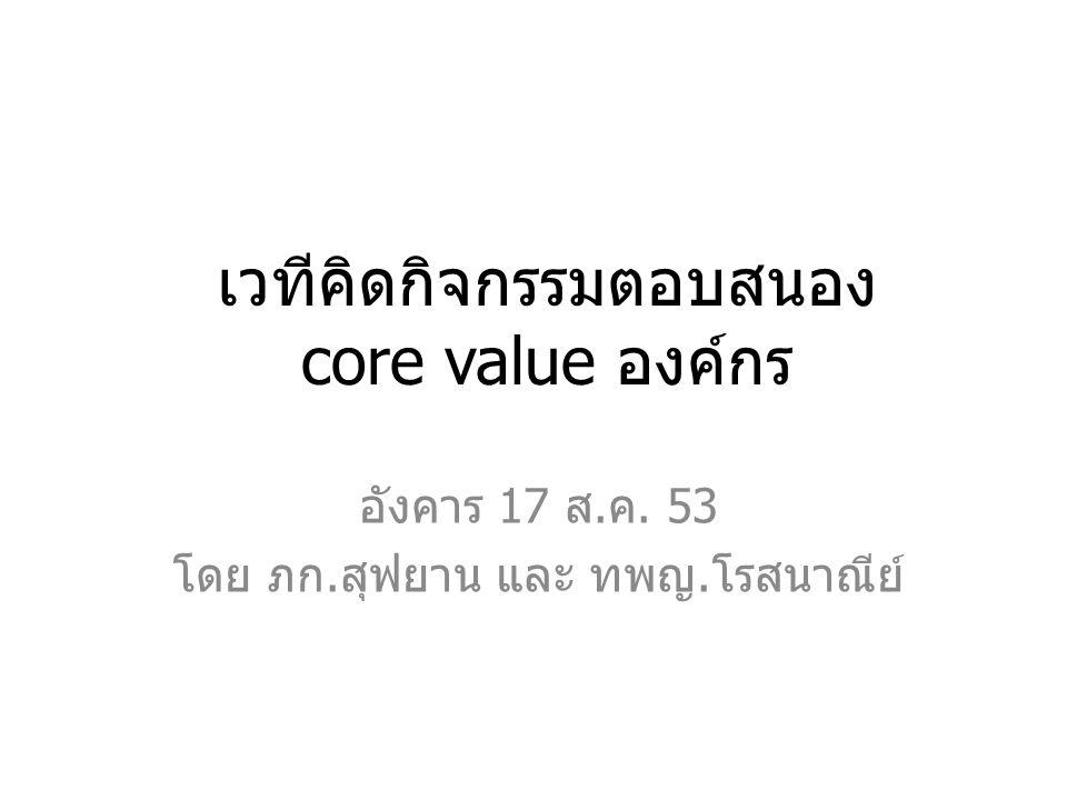 เวทีคิดกิจกรรมตอบสนอง core value องค์กร