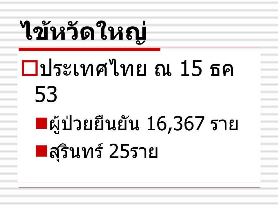 ไข้หวัดใหญ่ ประเทศไทย ณ 15 ธค 53 ผู้ป่วยยืนยัน 16,367 ราย