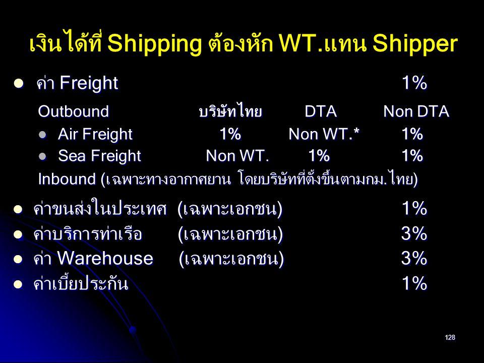 เงินได้ที่ Shipping ต้องหัก WT.แทน Shipper