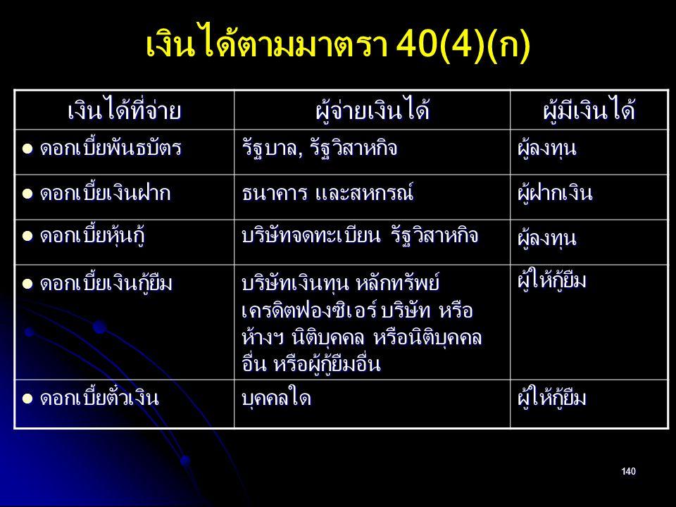 เงินได้ตามมาตรา 40(4)(ก)