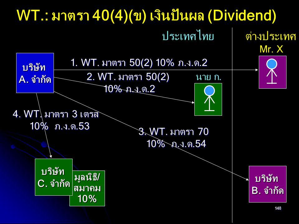 WT.: มาตรา 40(4)(ข) เงินปันผล (Dividend)