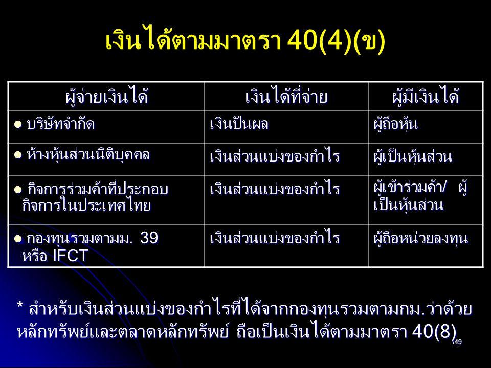 เงินได้ตามมาตรา 40(4)(ข)