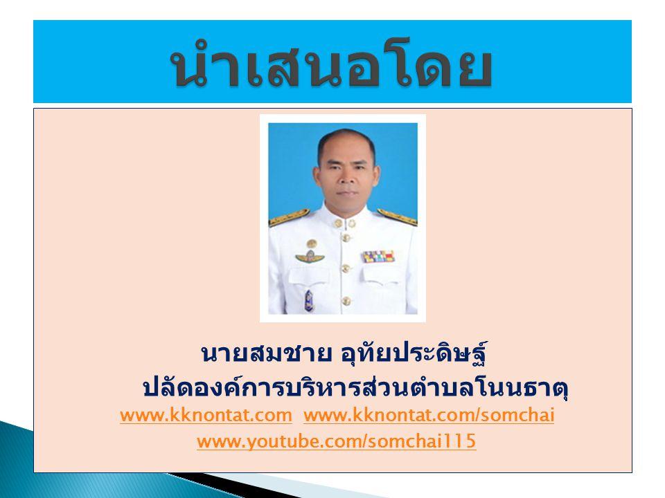 นำเสนอโดย ปลัดองค์การบริหารส่วนตำบลโนนธาตุ นายสมชาย อุทัยประดิษฐ์