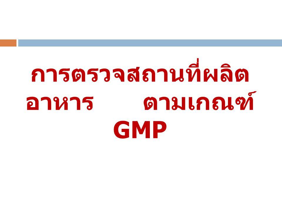 การตรวจสถานที่ผลิตอาหาร ตามเกณฑ์ GMP