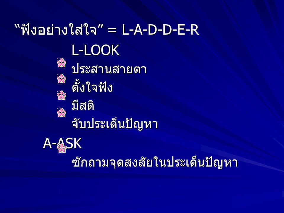 ฟังอย่างใส่ใจ = L-A-D-D-E-R