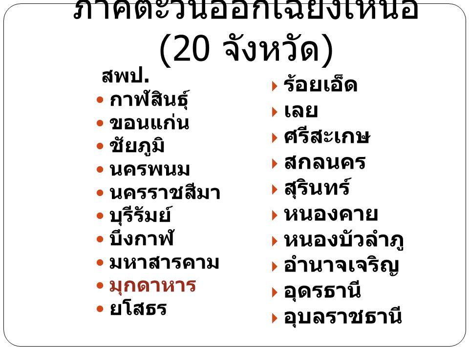 ภาคตะวันออกเฉียงเหนือ (20 จังหวัด)