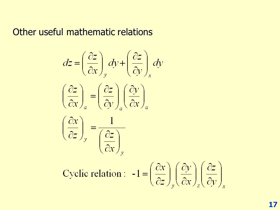 Other useful mathematic relations