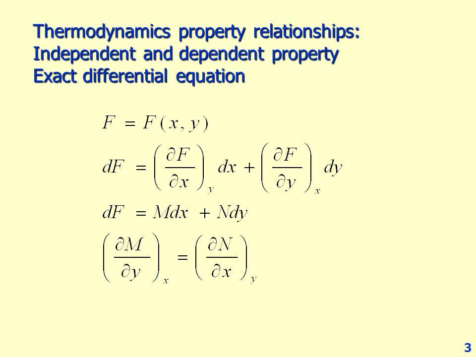 เราสามารถแสดงการเปลี่ยนแปลงของ F โดยใช้ Exact differential equation: