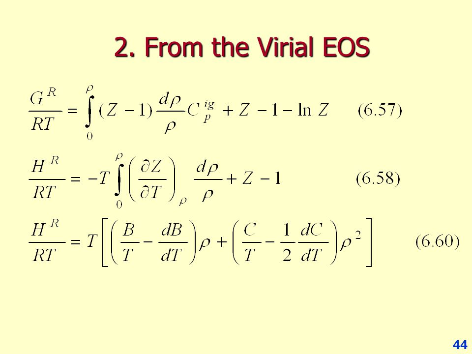 2. From the Virial EOS