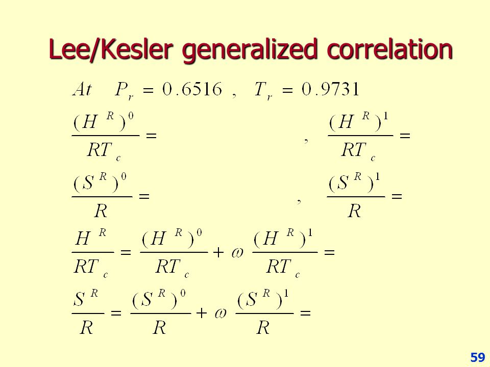Lee/Kesler generalized correlation