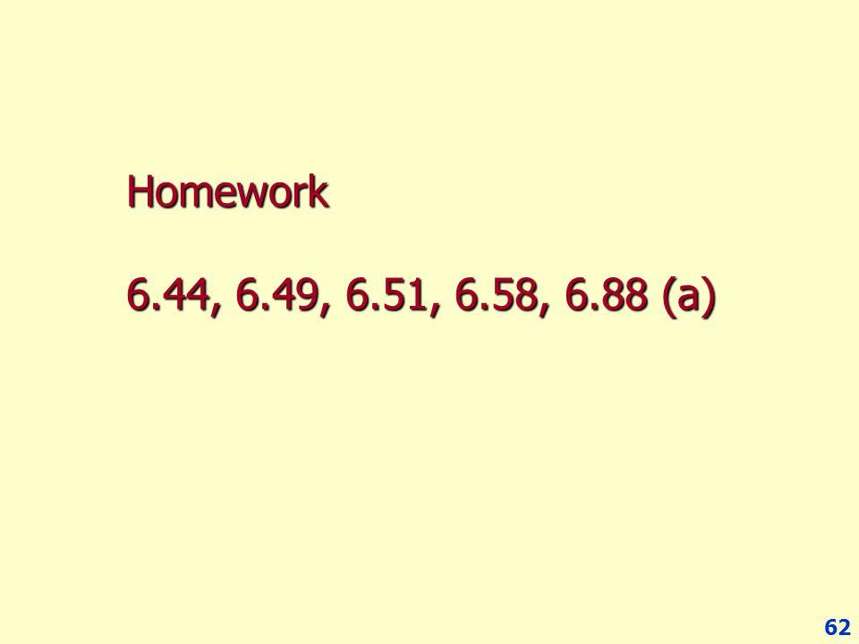 Homework 6.44, 6.49, 6.51, 6.58, 6.88 (a)