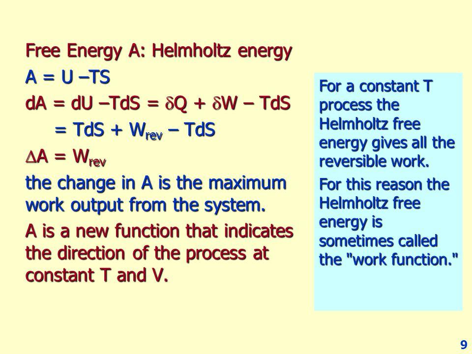 Free Energy A: Helmholtz energy A = U –TS dA = dU –TdS = Q + W – TdS