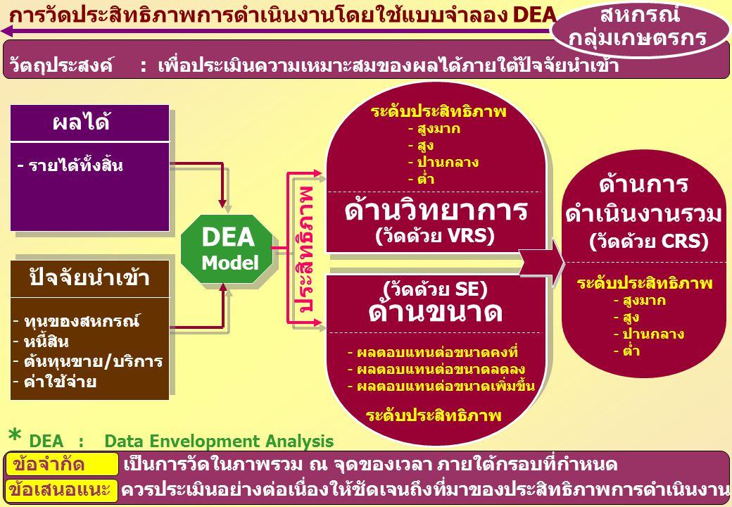 ด้านวิทยาการ ด้านขนาด DEA * DEA : Data Envelopment Analysis ด้านการ