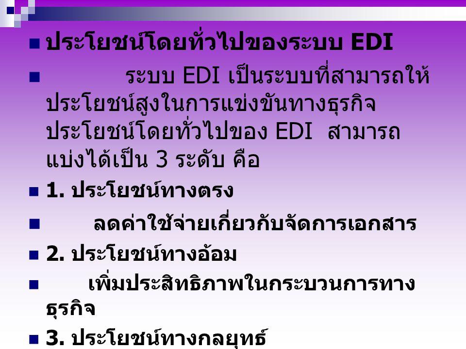 ประโยชน์โดยทั่วไปของระบบ EDI