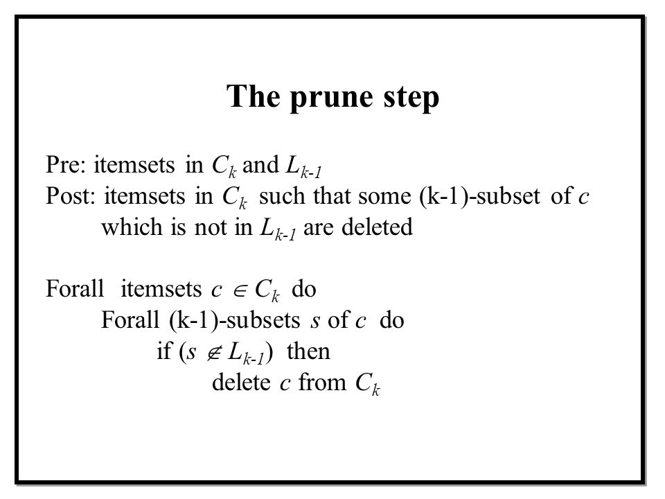 The prune step Pre: itemsets in Ck and Lk-1