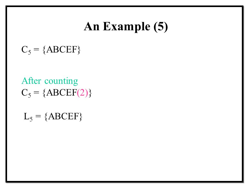 An Example (5) C5 = {ABCEF} After counting C5 = {ABCEF(2)}