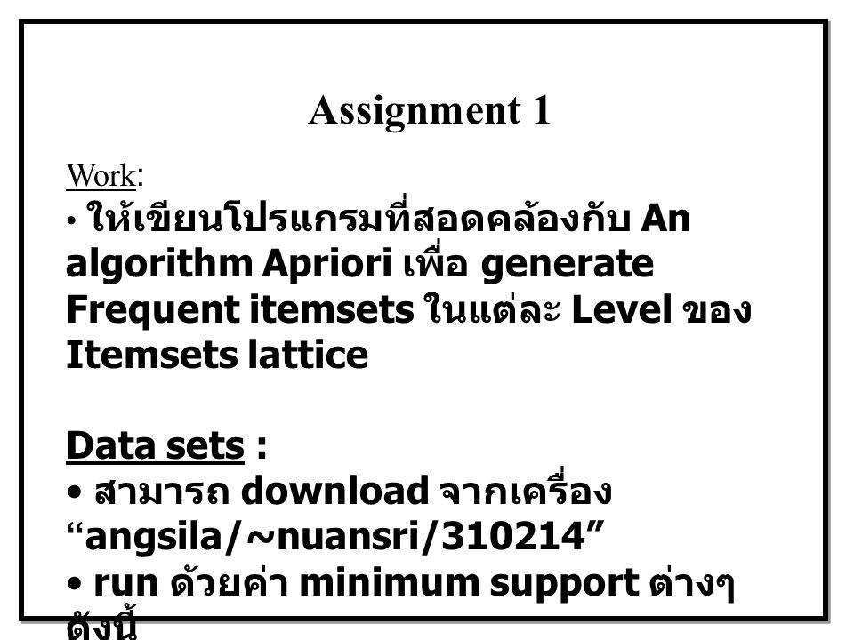 Assignment 1 Work: ให้เขียนโปรแกรมที่สอดคล้องกับ An algorithm Apriori เพื่อ generate Frequent itemsets ในแต่ละ Level ของ Itemsets lattice.