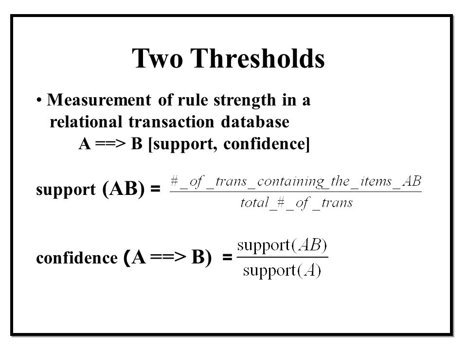 Two Thresholds Measurement of rule strength in a