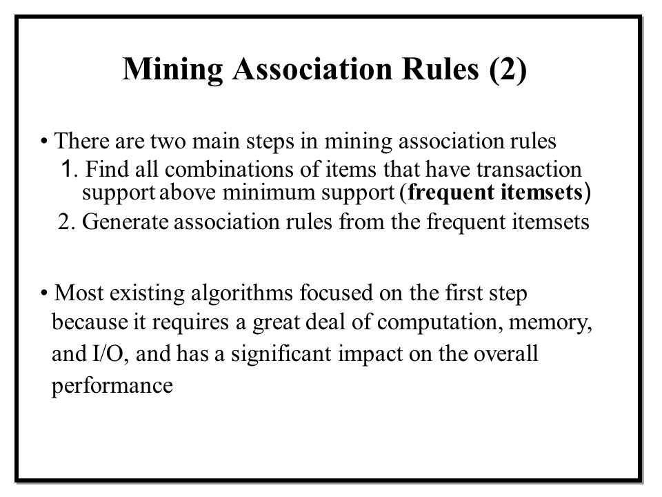 Mining Association Rules (2)