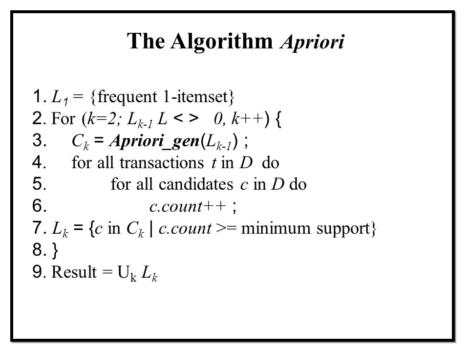 The Algorithm Apriori 1. L1 = {frequent 1-itemset}