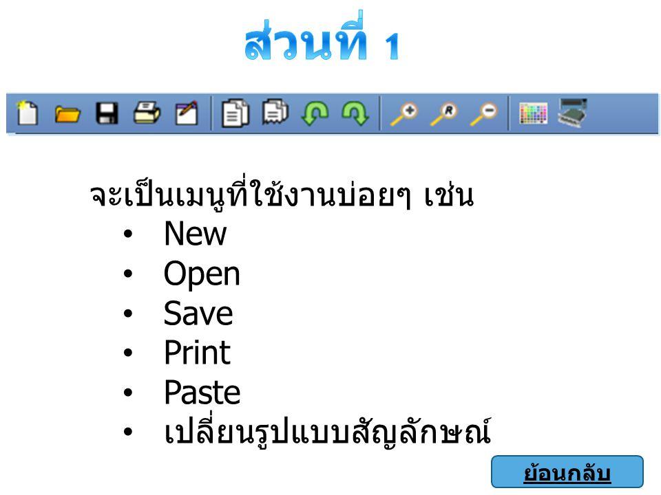 ส่วนที่ 1 จะเป็นเมนูที่ใช้งานบ่อยๆ เช่น New Open Save Print Paste