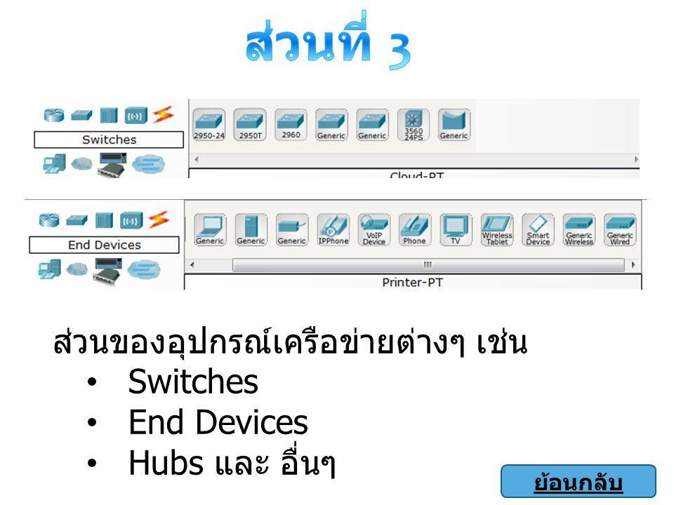 ส่วนที่ 3 ส่วนของอุปกรณ์เครือข่ายต่างๆ เช่น Switches End Devices