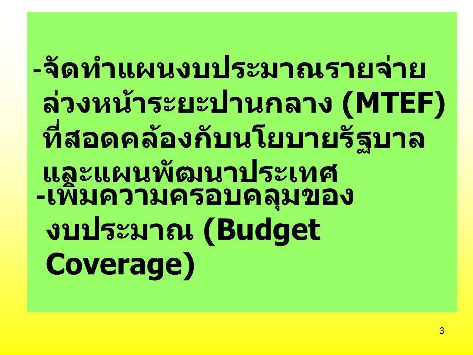 -จัดทำแผนงบประมาณรายจ่ายล่วงหน้าระยะปานกลาง (MTEF) ที่สอดคล้องกับนโยบายรัฐบาลและแผนพัฒนาประเทศ