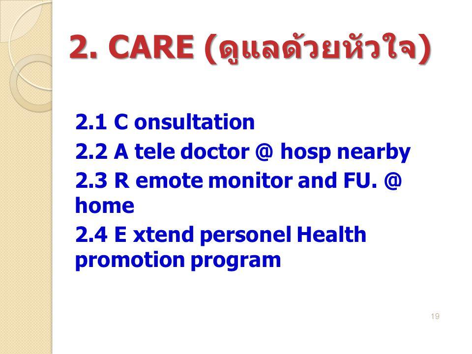 2. CARE (ดูแลด้วยหัวใจ) 2.1 C onsultation
