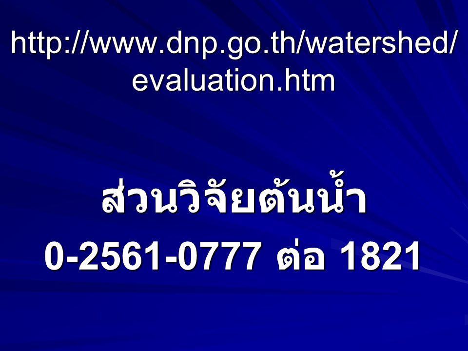 ส่วนวิจัยต้นน้ำ 0-2561-0777 ต่อ 1821