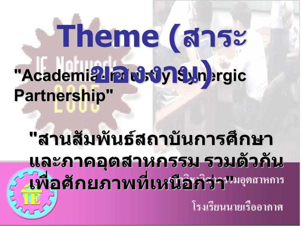 Theme (สาระของงาน) Academia-Industry Synergic Partnership สานสัมพันธ์สถาบันการศึกษาและภาคอุตสาหกรรม รวมตัวกันเพื่อศักยภาพที่เหนือกว่า
