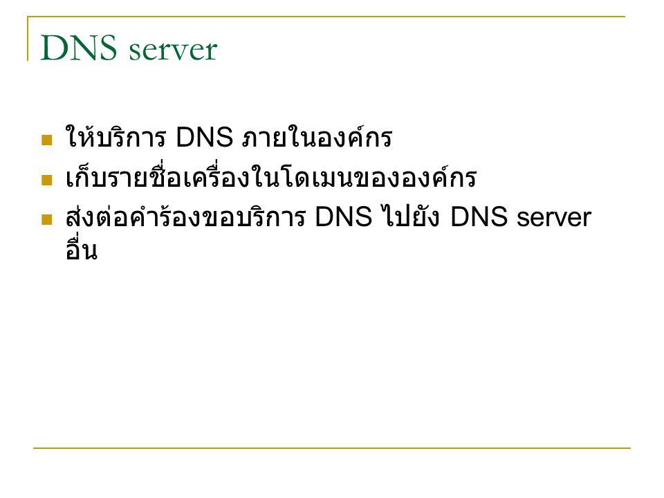 DNS server ให้บริการ DNS ภายในองค์กร