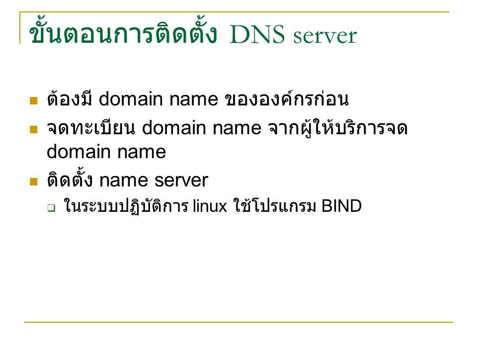 ขั้นตอนการติดตั้ง DNS server