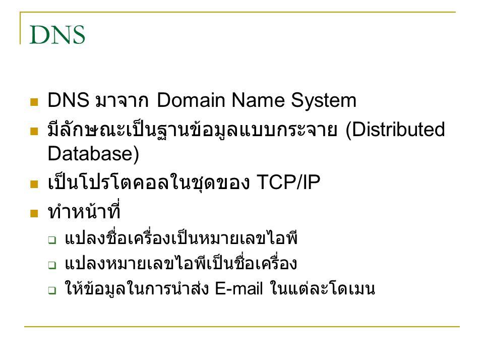 DNS DNS มาจาก Domain Name System