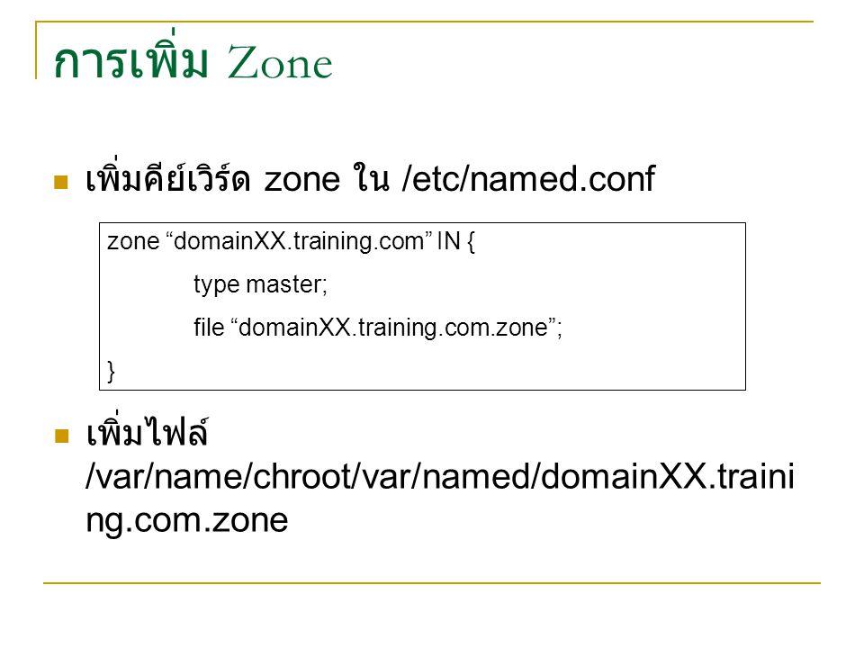 การเพิ่ม Zone เพิ่มคีย์เวิร์ด zone ใน /etc/named.conf