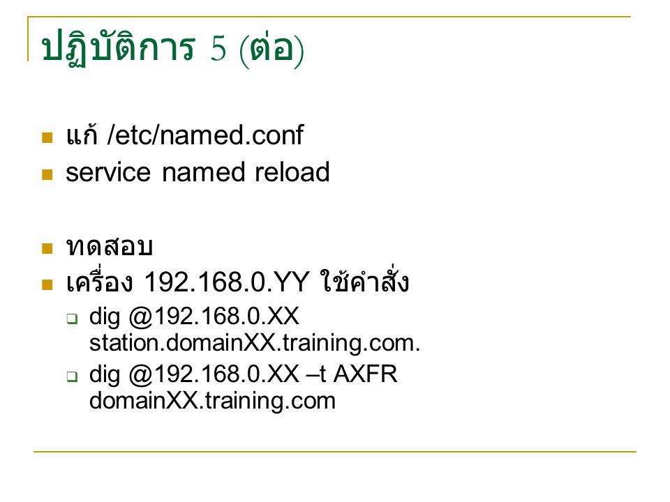 ปฏิบัติการ 5 (ต่อ) แก้ /etc/named.conf service named reload ทดสอบ